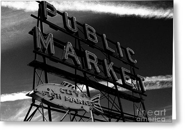 Seattle Landmarks Greeting Cards - Pikes PLace Market Sign Greeting Card by Nick Gustafson
