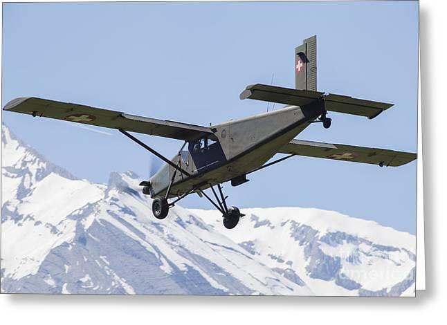 Swiss Photographs Greeting Cards - Pilatus Pc-6 Transport Aircraft Greeting Card by Timm Ziegenthaler
