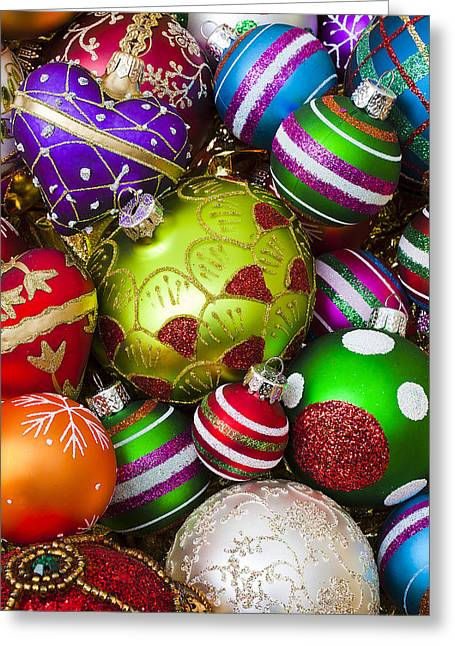 Spheres Greeting Cards - Pile of beautiful ornaments Greeting Card by Garry Gay