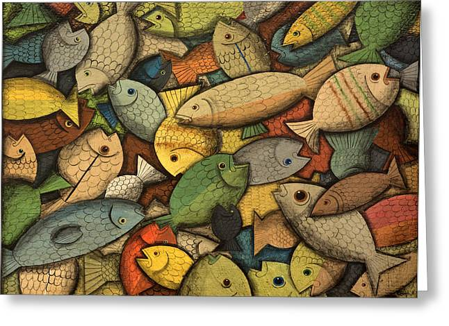 Salmon Paintings Greeting Cards - Pile of Fish Greeting Card by Timothy Campbell