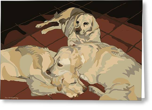 Pile Of Three Pups Greeting Card by Su Humphrey