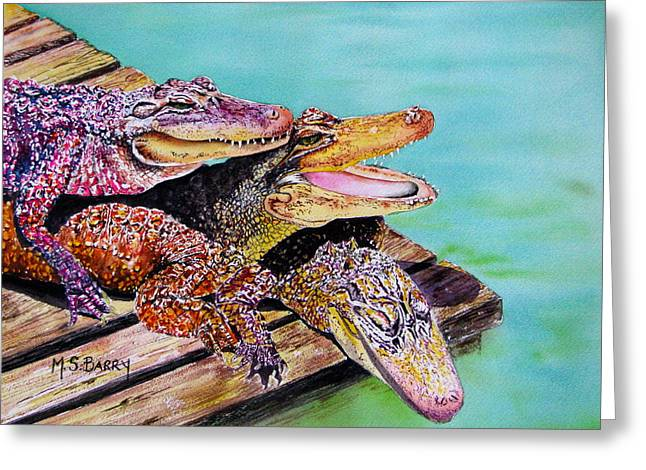 Gator Greeting Cards - Pile Up Greeting Card by Maria Barry