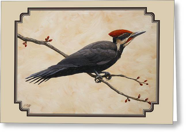Pileated Woodpecker Greeting Cards - Pileated Woodpecker Phone Case Greeting Card by Crista Forest