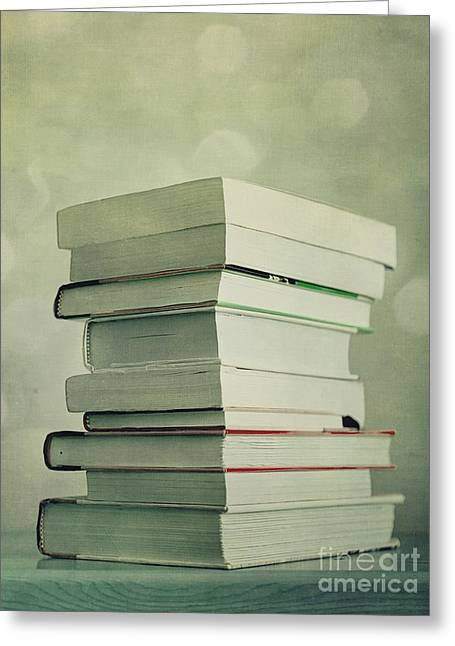 Tabletop Greeting Cards - Piled Reading Matter Greeting Card by Priska Wettstein