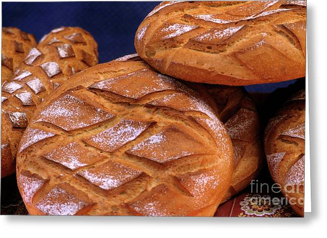 Ready-to-eat Greeting Cards - Piles of freshly cooked loaves of bread Greeting Card by Sami Sarkis