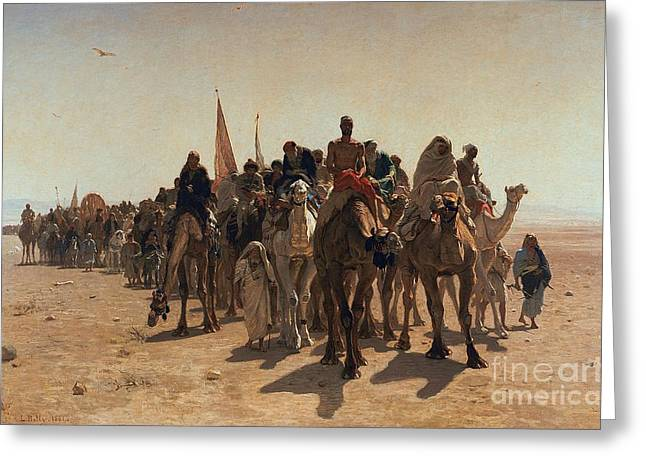 Haj Paintings Greeting Cards - Pilgrims Going to Mecca Greeting Card by Leon Auguste Adolphe Belly