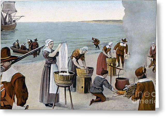 Laundress Greeting Cards - Pilgrims Washing Day, 1620 Greeting Card by Granger