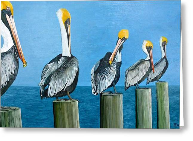 Piling On Greeting Card by Jon Ferrentino