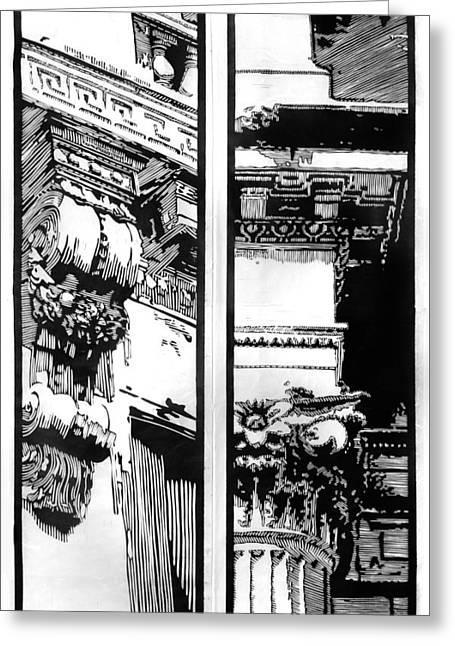 Recently Sold -  - Lino Reliefs Greeting Cards - Pillars Greeting Card by Alexis Mackay