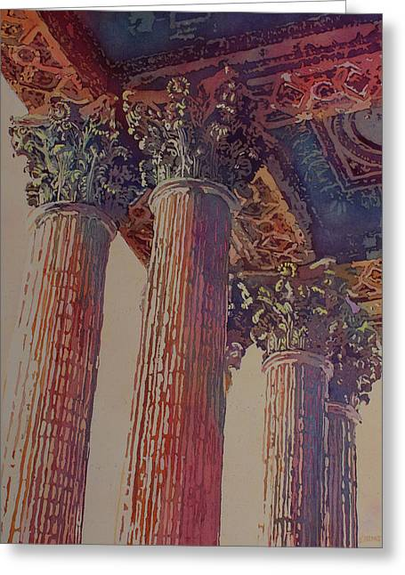 Pillars Of The Humanities Greeting Card by Jenny Armitage
