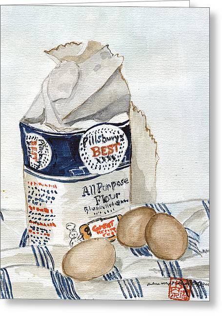 Pillsbury Greeting Cards - Pillsbury Flour and Brown Eggs Greeting Card by Arlene  Wright-Correll