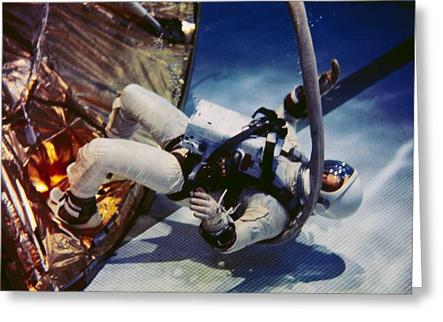 Edwin A Greeting Cards - pilot for  Gemini 12 spaceflight assumes a rest position during underwater zero gravity training Greeting Card by R Muirhead Art