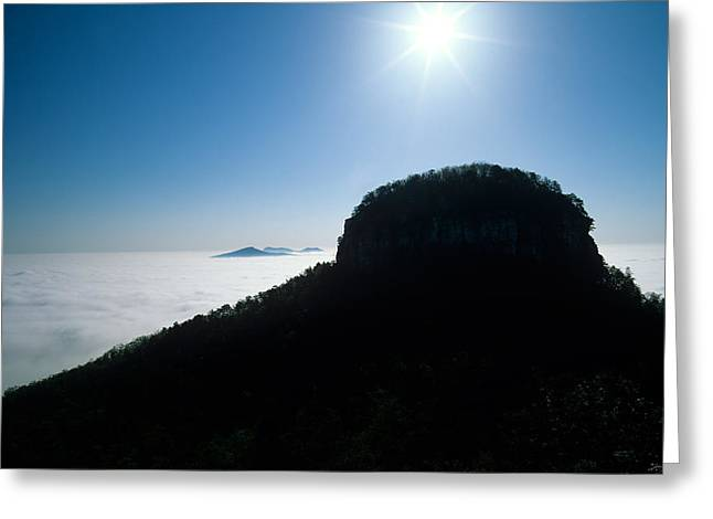 Temperature Inversion Greeting Cards - Pilot Mountain Greeting Card by John Harmon