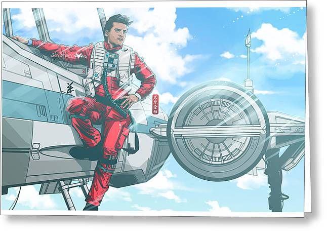 Xwing Greeting Cards - Pilot Poe Wing Episode VII  Greeting Card by Akyanyme