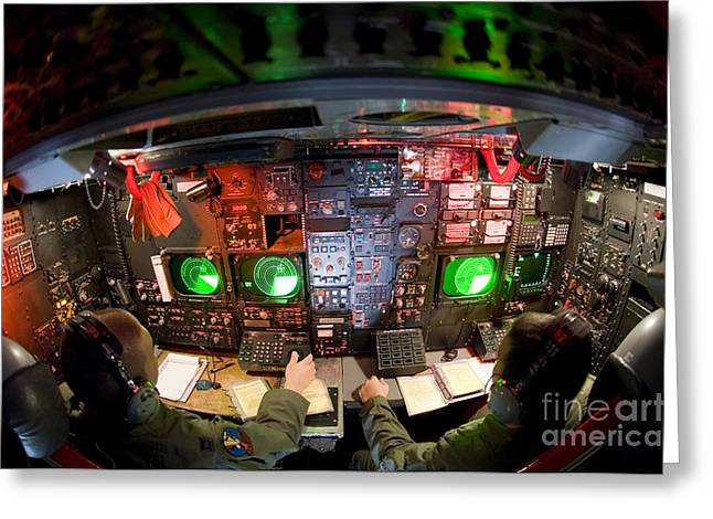 Monitoring Greeting Cards - Pilots At The Controls Of A B-52 Greeting Card by Stocktrek Images