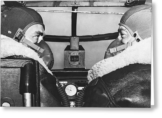 Pilots In B-25 Cockpit Greeting Card by Underwood Archives