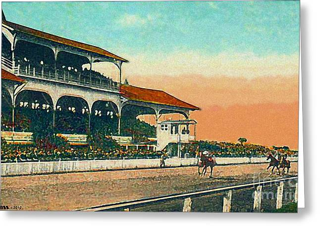 Md Paintings Greeting Cards - Pimlico Racetrack Grandstand In Baltimore Md In 1917 Greeting Card by Dwight Goss
