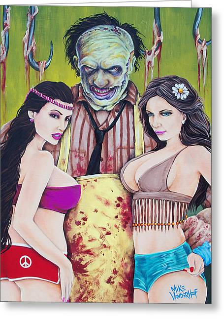 Tattoo Flash Paintings Greeting Cards - Pimp Leatherface Greeting Card by Michael Vanderhoof