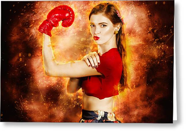 Resilience Greeting Cards - Pin up boxing girl  Greeting Card by Ryan Jorgensen
