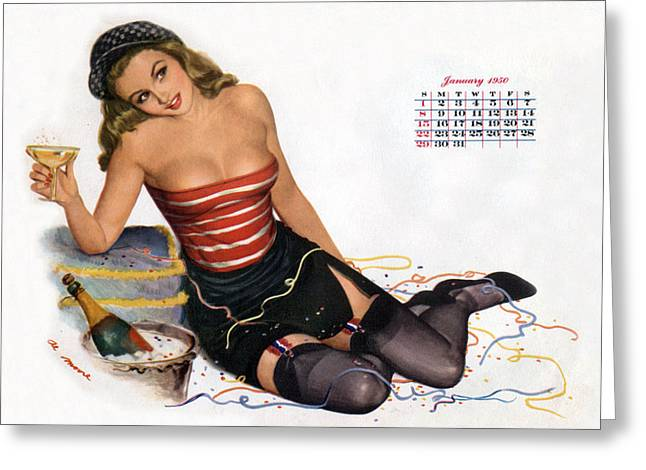 Calendar Drawings Greeting Cards - Pin Up celebrating new year with champagne Greeting Card by American School
