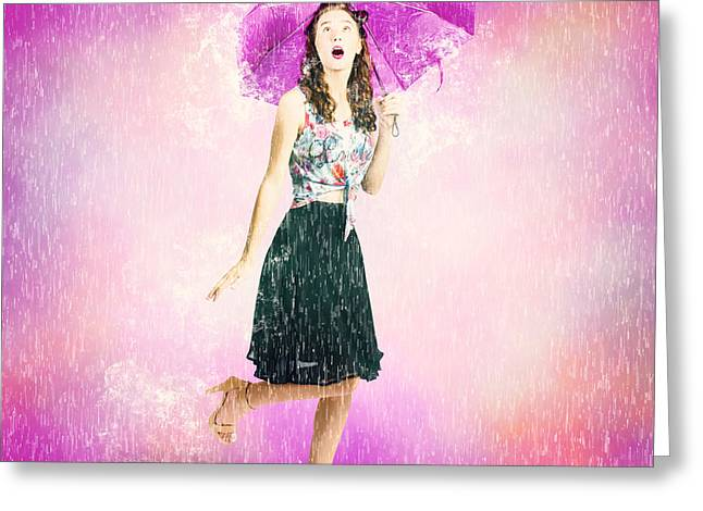Full Skirt Greeting Cards - Pin-up girl in rain downfall. Hop skip and jump Greeting Card by Ryan Jorgensen