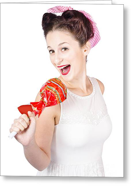 Pin-up Girl Singing Into Large Lollypop Microphone Greeting Card by Jorgo Photography - Wall Art Gallery