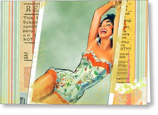 Pin Up Girl Square Greeting Card by Pd