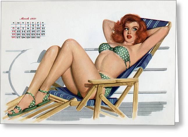 Deckchair Greeting Cards - Pin up in bikini on a deckchair on a boat Greeting Card by American School