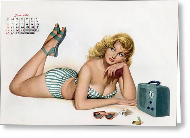 Calendar Drawings Greeting Cards - Pin up listening to radio Greeting Card by American School