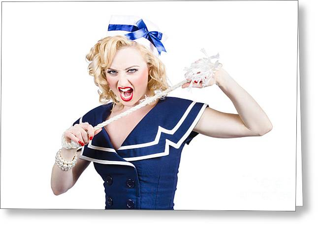 Ability Greeting Cards - Pin up navy girl breaking naval rope with strength Greeting Card by Ryan Jorgensen
