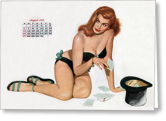 Calendar Drawings Greeting Cards - Pin up playing cards Greeting Card by American School