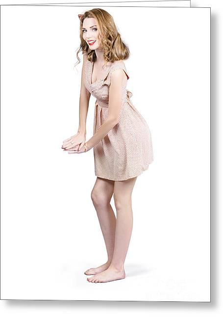 Retro Pinup Greeting Cards - Pin up portrait of a beautiful model girl Greeting Card by Ryan Jorgensen