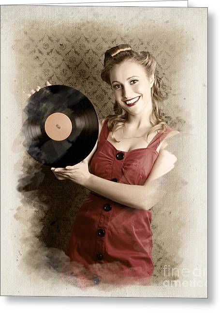 Pin-up Rockabilly Woman Holding Vinyl Record Lp Greeting Card by Jorgo Photography - Wall Art Gallery