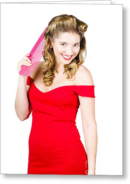 Ravishing Greeting Cards - Pin-up styled fashion model with classic hairstyle Greeting Card by Ryan Jorgensen