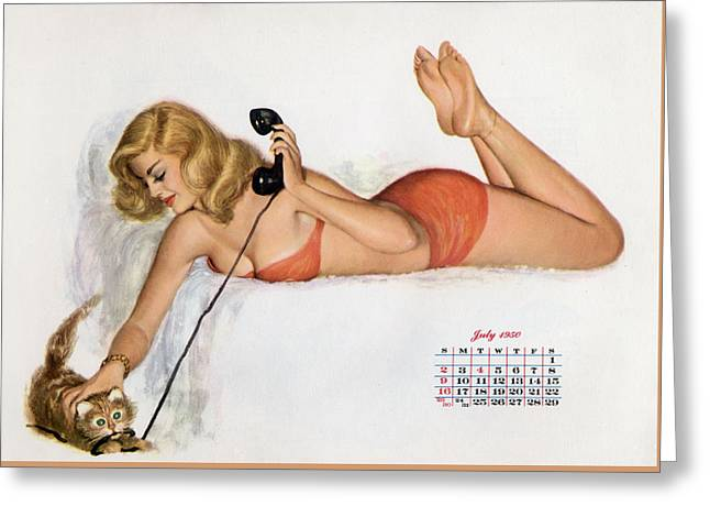 Calendar Drawings Greeting Cards - Pin up with a cat playing with phone wire Greeting Card by American School