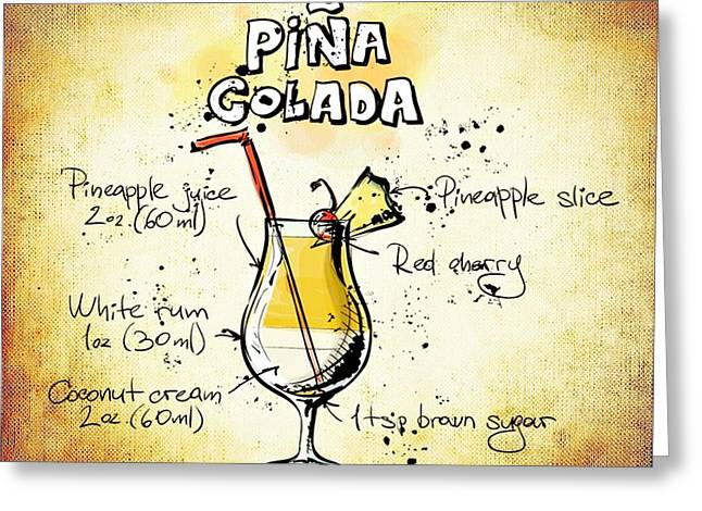 Gathering Mixed Media Greeting Cards - Pina Colada  Greeting Card by Movie Poster Prints