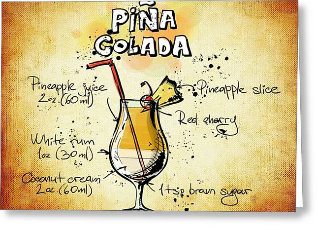 Bartender Drawings Greeting Cards - Pina Colada Recipe Greeting Card by Alexas Fotos