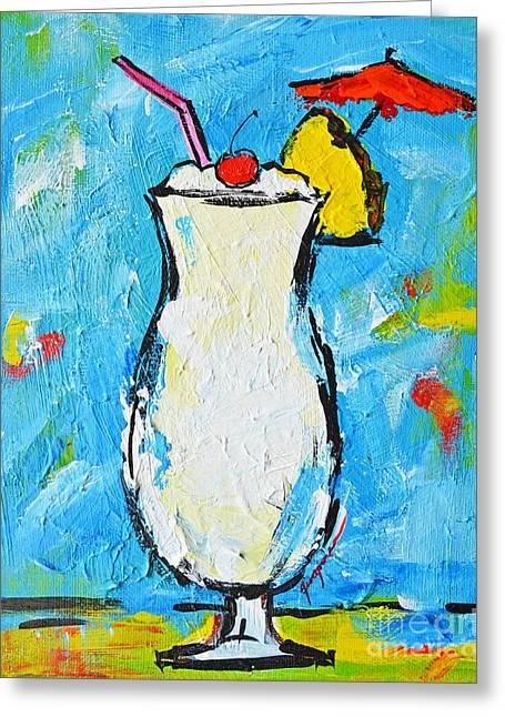 Pina Colada - Tropical Drink - Modern Art - Patio Bathroom Decor Greeting Card by Patricia Awapara