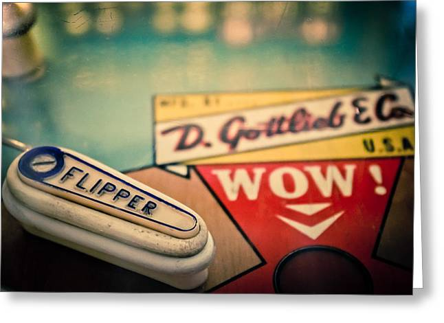 Pinball - Wow Greeting Card by Colleen Kammerer