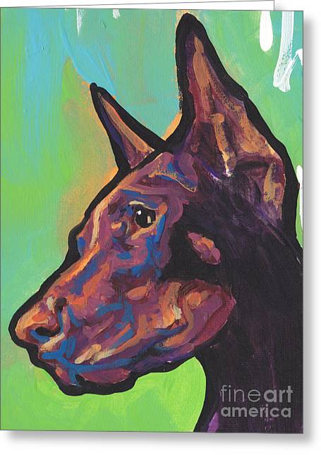 Doberman Pinscher Greeting Cards - Pinch Me Red Greeting Card by Lea