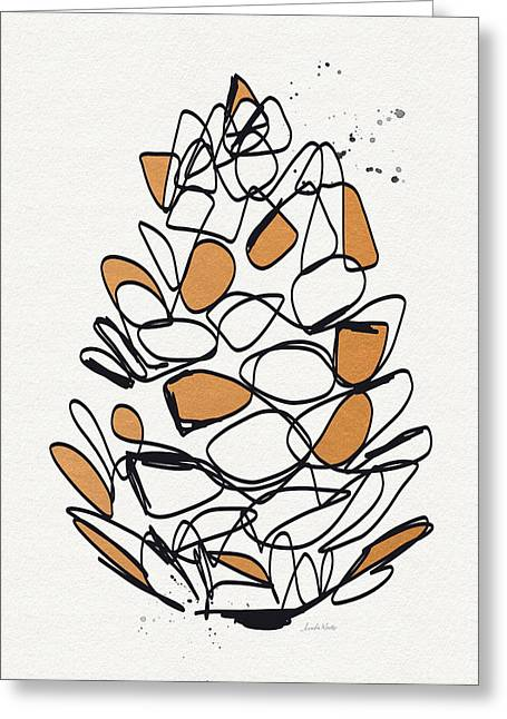 Winters Mixed Media Greeting Cards - Pine Cone- Art by Linda Woods Greeting Card by Linda Woods