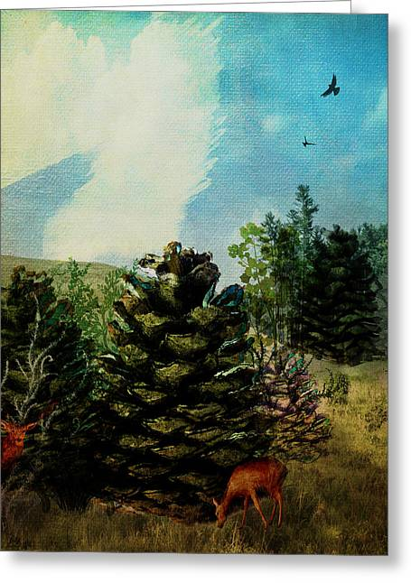 Pine Cones Mixed Media Greeting Cards - Pine Cone Forest Greeting Card by Terry Fleckney