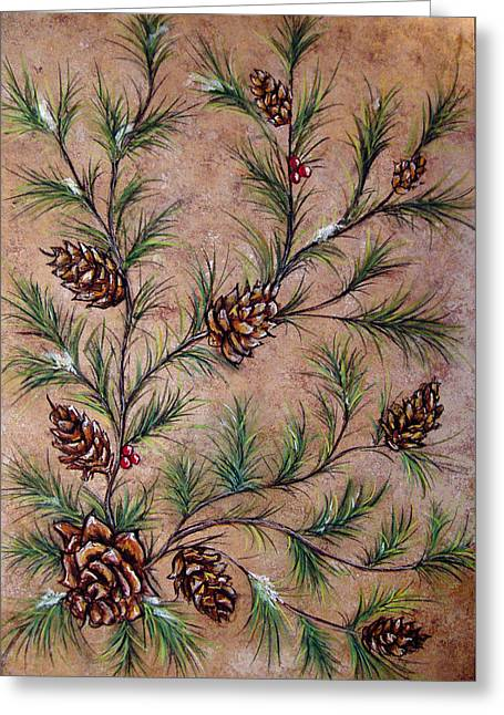 Winter Pastels Greeting Cards - Pine Cones and Spruce Branches Greeting Card by Nancy Mueller