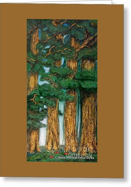 Polscy Malarze Paintings Greeting Cards - Pine Grove Greeting Card by Anna Folkartanna Maciejewska-Dyba