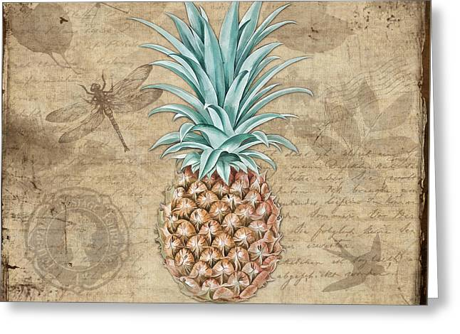 Pineapple, Ananas Comosus Vintage Botanicals Collection Greeting Card by Tina Lavoie