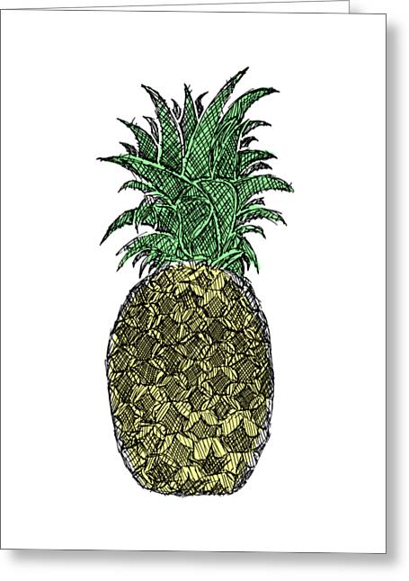 Pen And Paper Greeting Cards - Pineapple - Color Greeting Card by Hinterlund