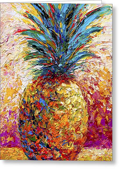 Tropical Fruit Greeting Cards - Pineapple Expression Greeting Card by Marion Rose