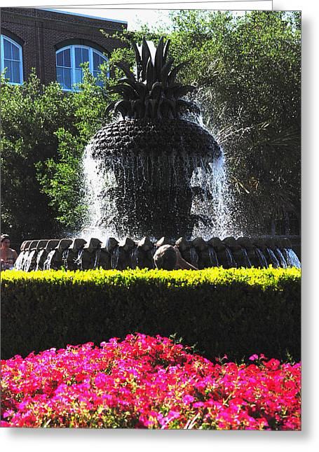 Recreational Park Greeting Cards - Pineapple Fountain Charleston SC Greeting Card by Susanne Van Hulst