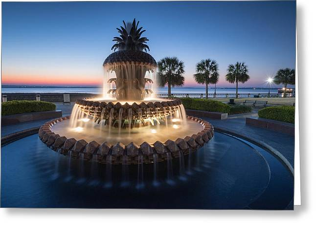 Palmetto Trees Greeting Cards - Pineapple Fountain Charleston Waterfront Park Greeting Card by Mark VanDyke