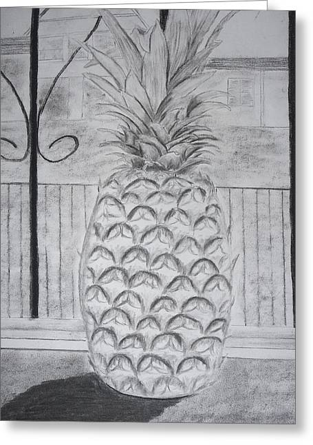 Graphite Pastels Greeting Cards - Pineapple in window Greeting Card by Jose Valeriano